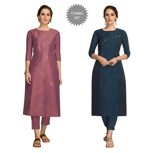 Preferable Partywear Embroidered Viscose Kurti - Pack of 2