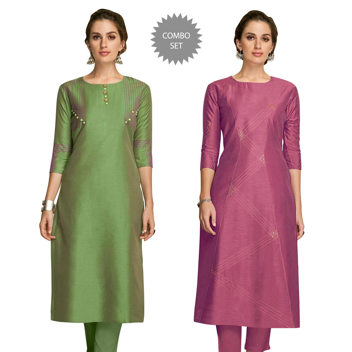Marvellous Partywear Embroidered Viscose Kurti - Pack of 2