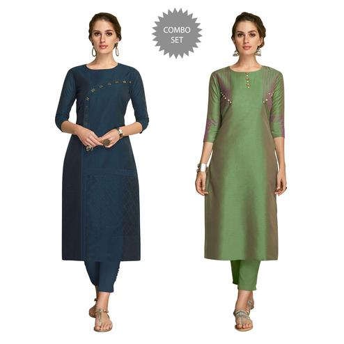 Flamboyant Partywear Embroidered Viscose Kurti - Pack of 2