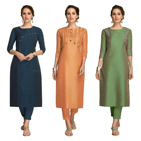 Ethnic Partywear Embroidered Viscose Kurti - Pack of 3