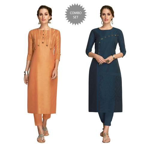Ravishing Partywear Embroidered Viscose Kurti - Pack of 2