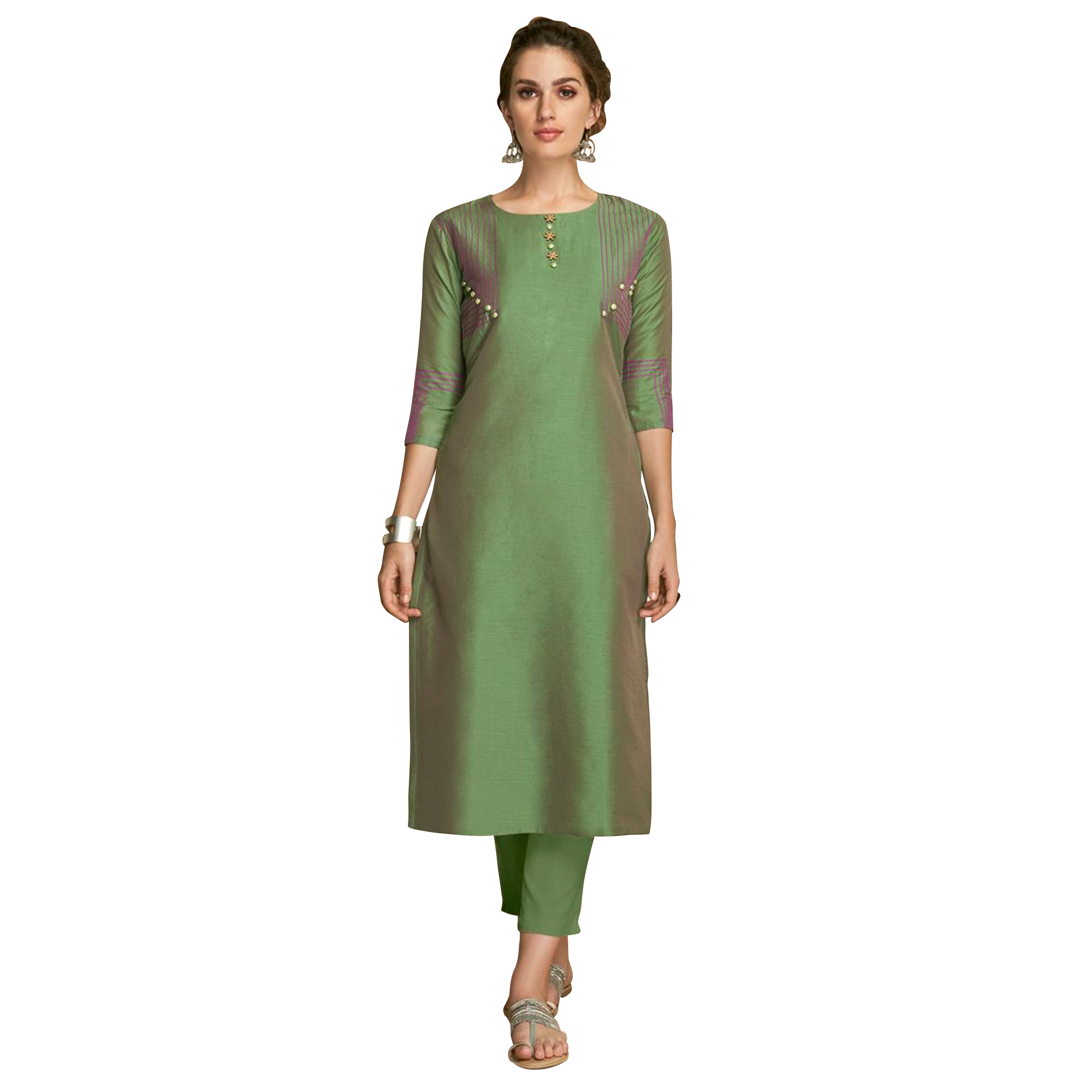 Staring Partywear Embroidered Viscose Kurti - Pack of 2