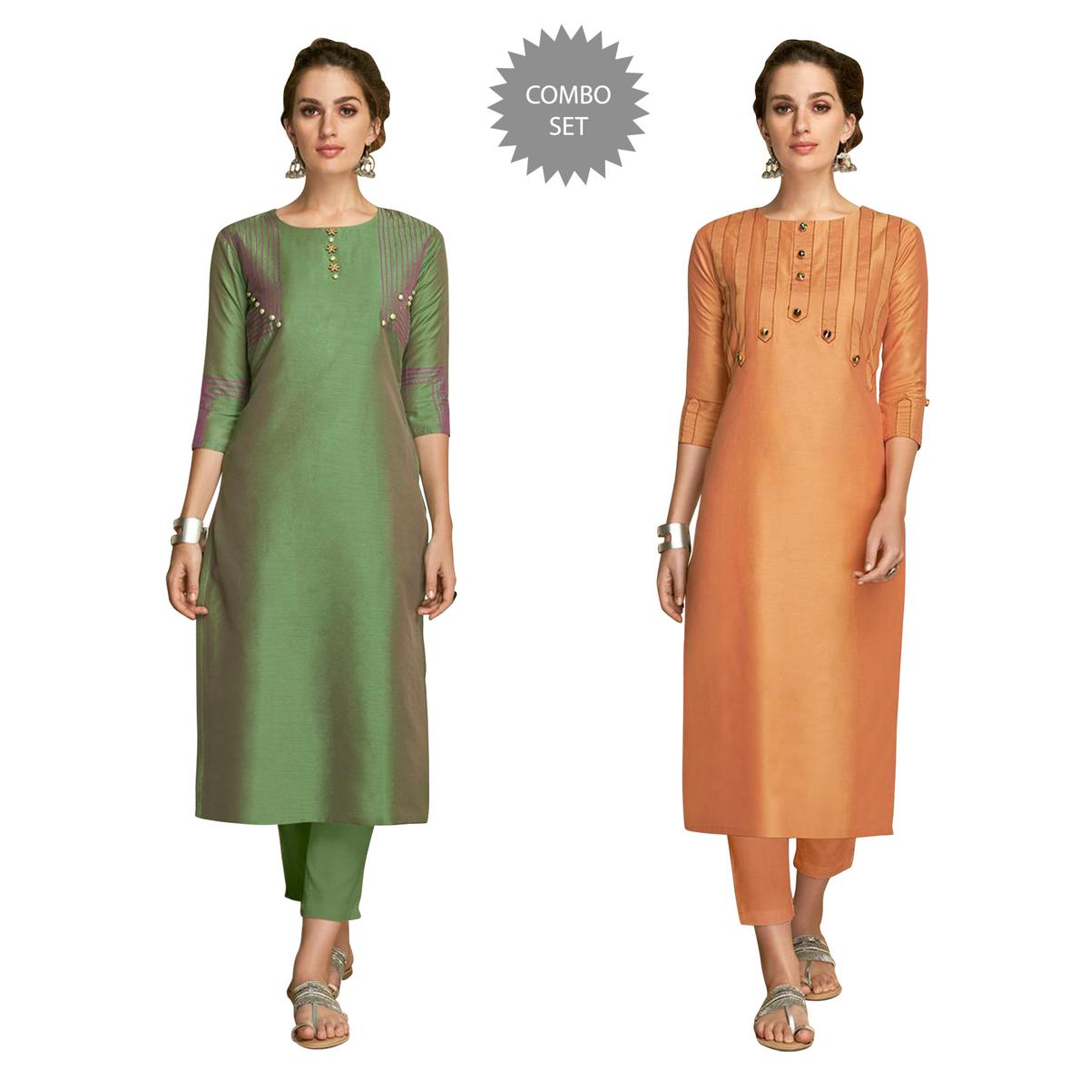 Dazzling Partywear Embroidered Viscose Kurti - Pack of 2
