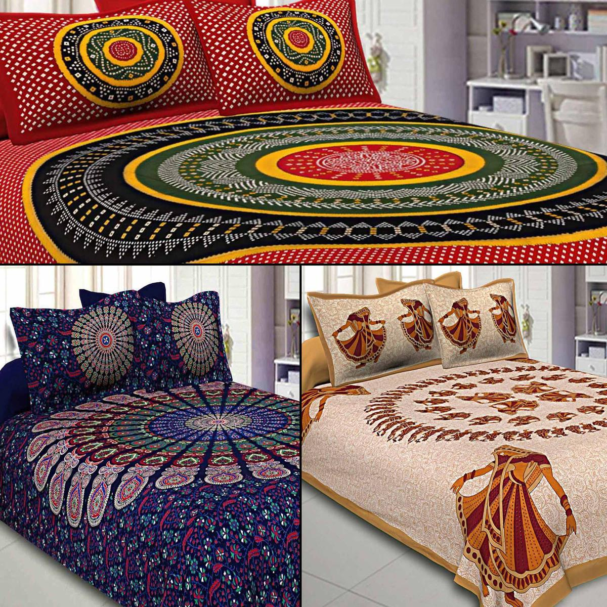 Demanding Printed Double Sized Bed Sheets With 2 Pillow Covers - Pack of 3