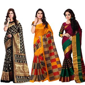 Black - Orange - Multicolored Printed Saree (Pack of 3)
