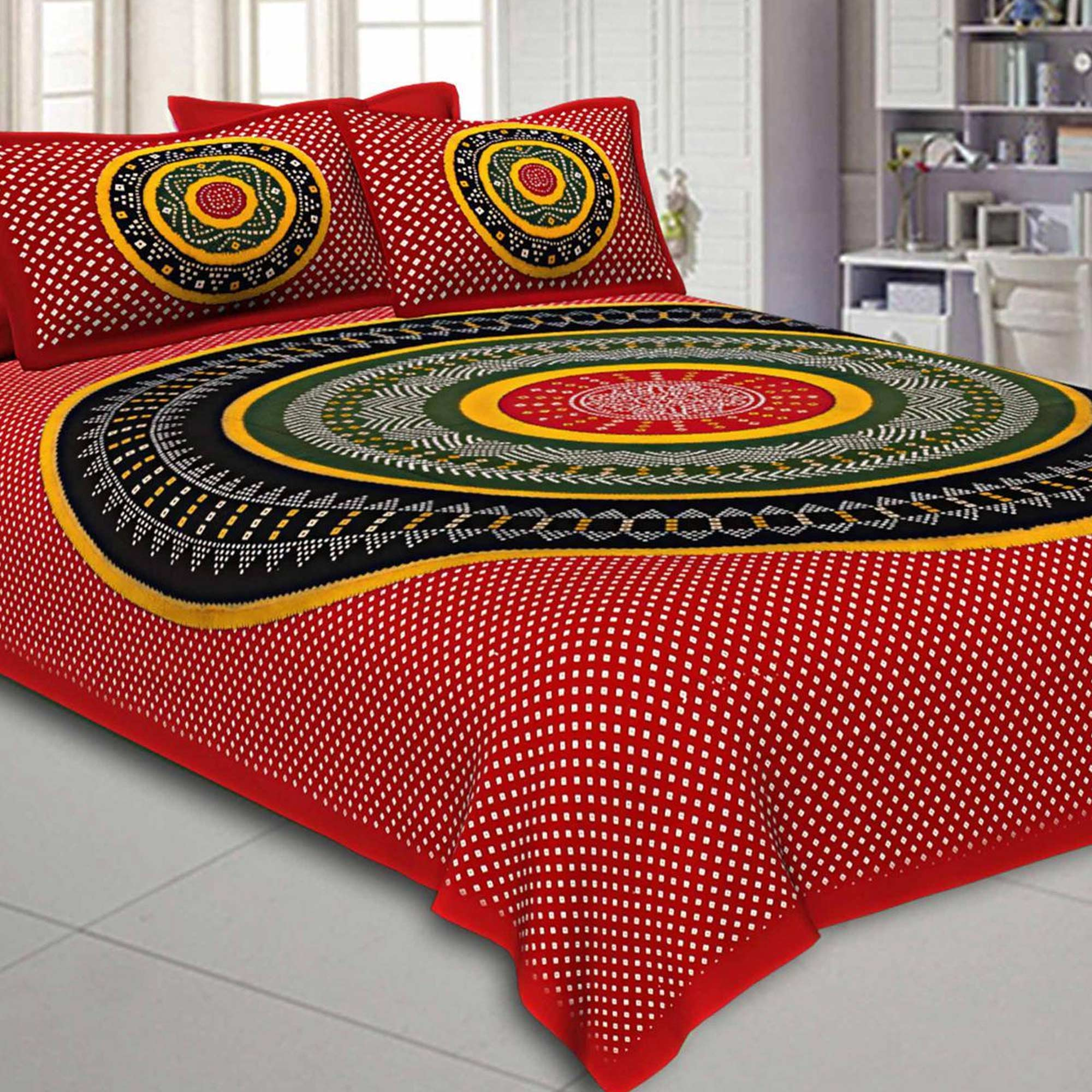 Refreshing Printed Double Sized Bed Sheets With 2 Pillow Covers - Pack of 2