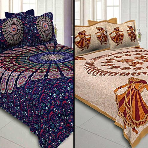 Magnetic Printed Double Sized Bed Sheets With 2 Pillow Covers - Pack of 2