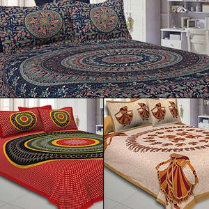 Excellent Printed Double Sized Bed Sheets With 2 Pillow Covers - Pack of 3