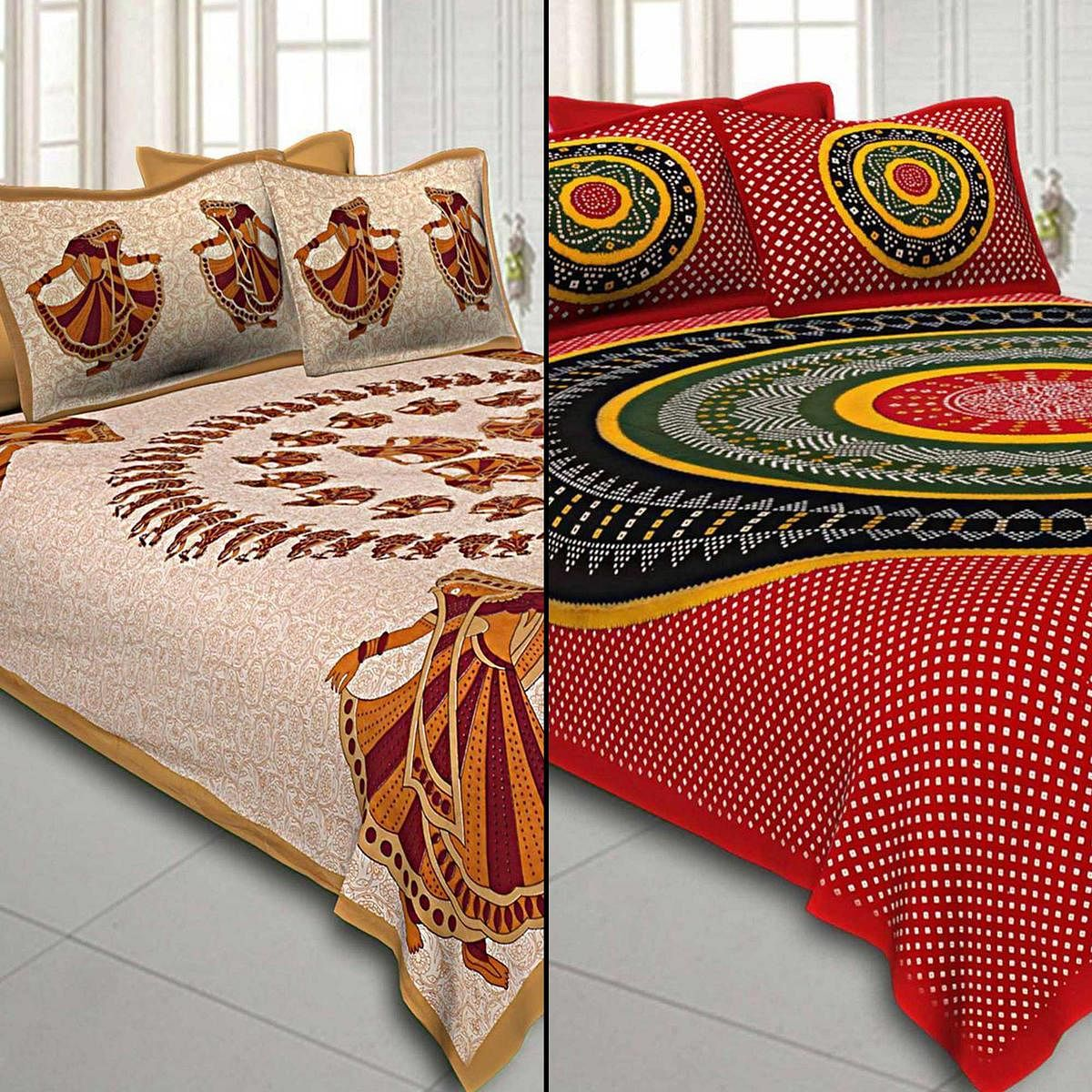 Marvellous Printed Double Sized Bed Sheets With 2 Pillow Covers - Pack of 2