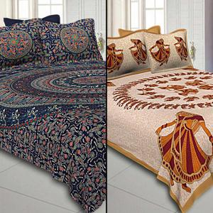 Flamboyant Printed Double Sized Bed Sheets With 2 Pillow Covers - Pack of 2