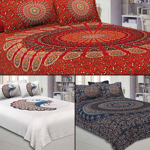 Alluring Printed Double Sized Bed Sheets With 2 Pillow Covers - Pack of 3