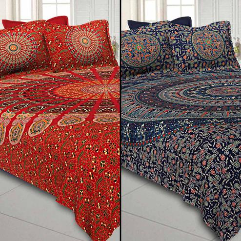 Flattering Printed Double Sized Bed Sheets With 2 Pillow Covers - Pack of 2