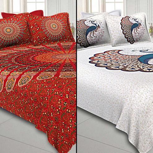 Pretty Printed Double Sized Bed Sheets With 2 Pillow Covers - Pack of 2