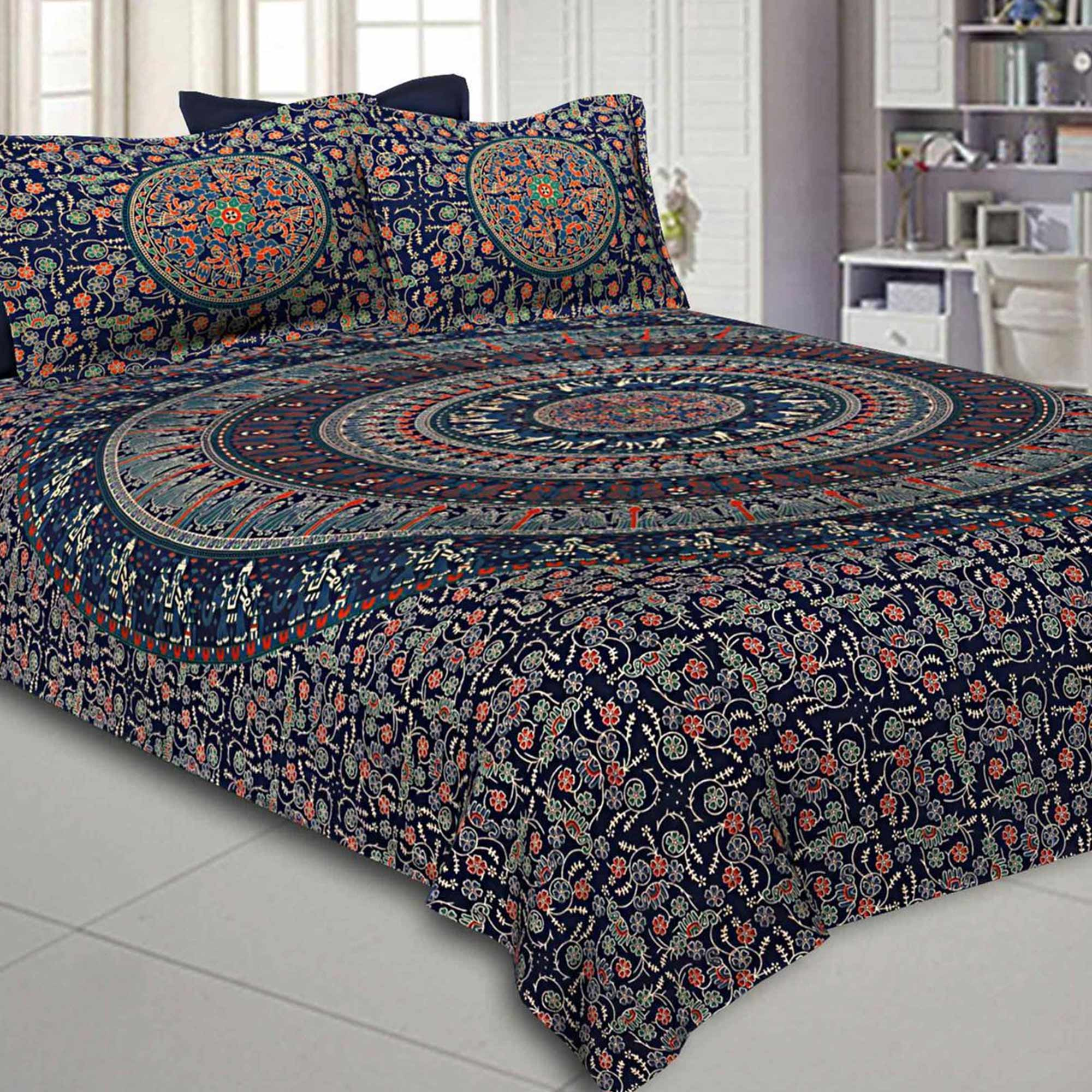 Sensational Printed Double Sized Bed Sheets With 2 Pillow Covers - Pack of 2