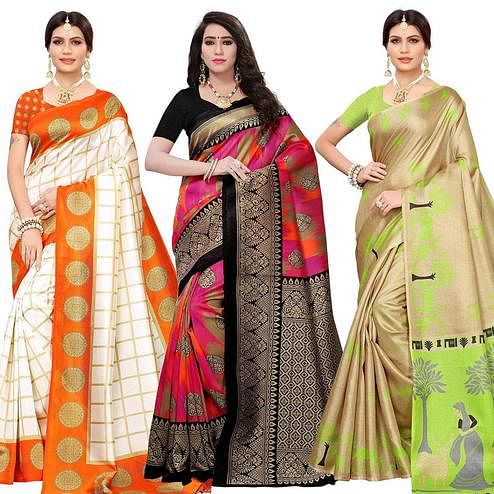 Eye-catching Festive Wear Printed Mysore Silk - Khadi Silk Saree - Pack of 3