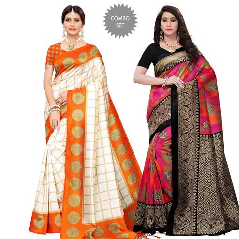 Fantastic Festive Wear Printed Mysore Silk Saree - Pack of 2