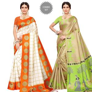 Amazing Festive Wear Printed Mysore Silk - Khadi Silk Saree - Pack of 2