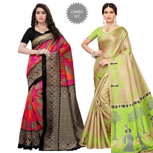 Gorgeous Festive Wear Printed Mysore Silk - Khadi Silk Saree - Pack of 2