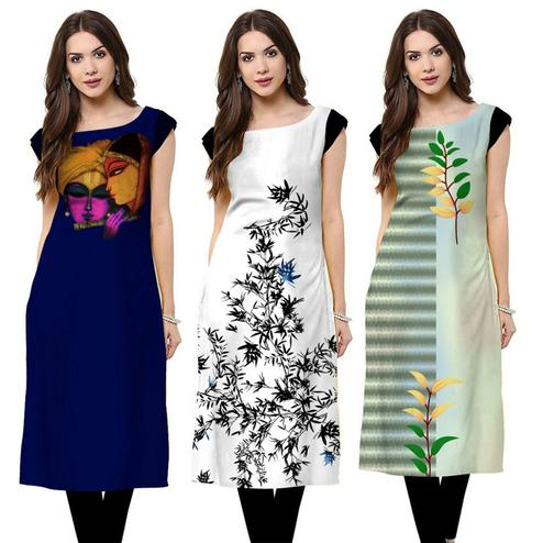 Pleasant Casual Printed Crepe Kurti - Pack of 3