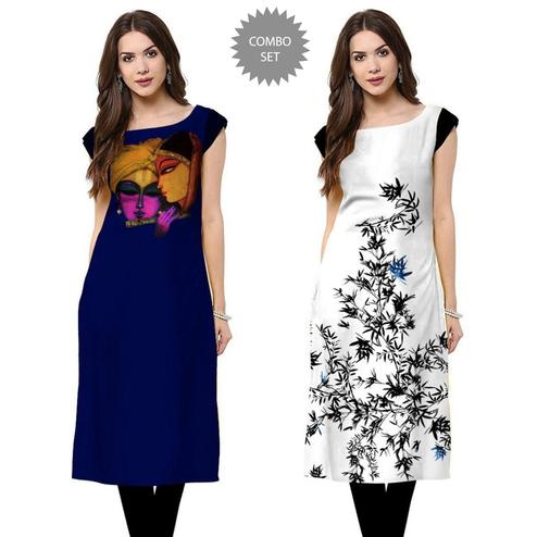Opulent Casual Printed Crepe Kurti - Pack of 2