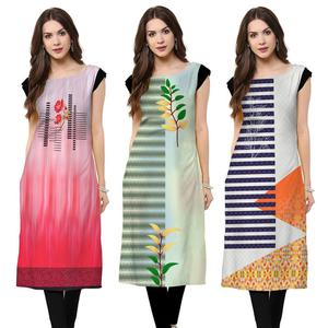 Glorious Casual Printed Crepe Kurti - Pack of 3