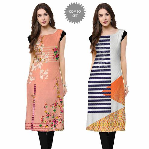 Demanding Casual Printed Crepe Kurti - Pack of 2