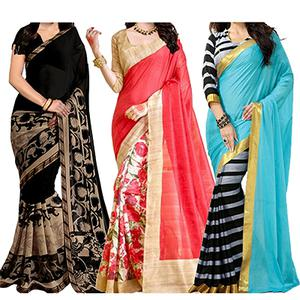 Black - Red - Blue Printed Saree (Pack of 3)