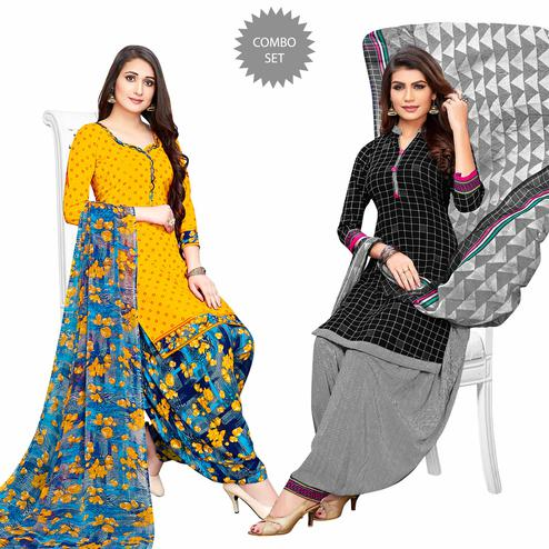 Intricate Yellow-Black Colored Casual Printed Crepe Patiala Suit - Pack of 2