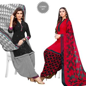 Arresting Black-Red Colored Casual Printed Crepe Patiala Suit - Pack of 2