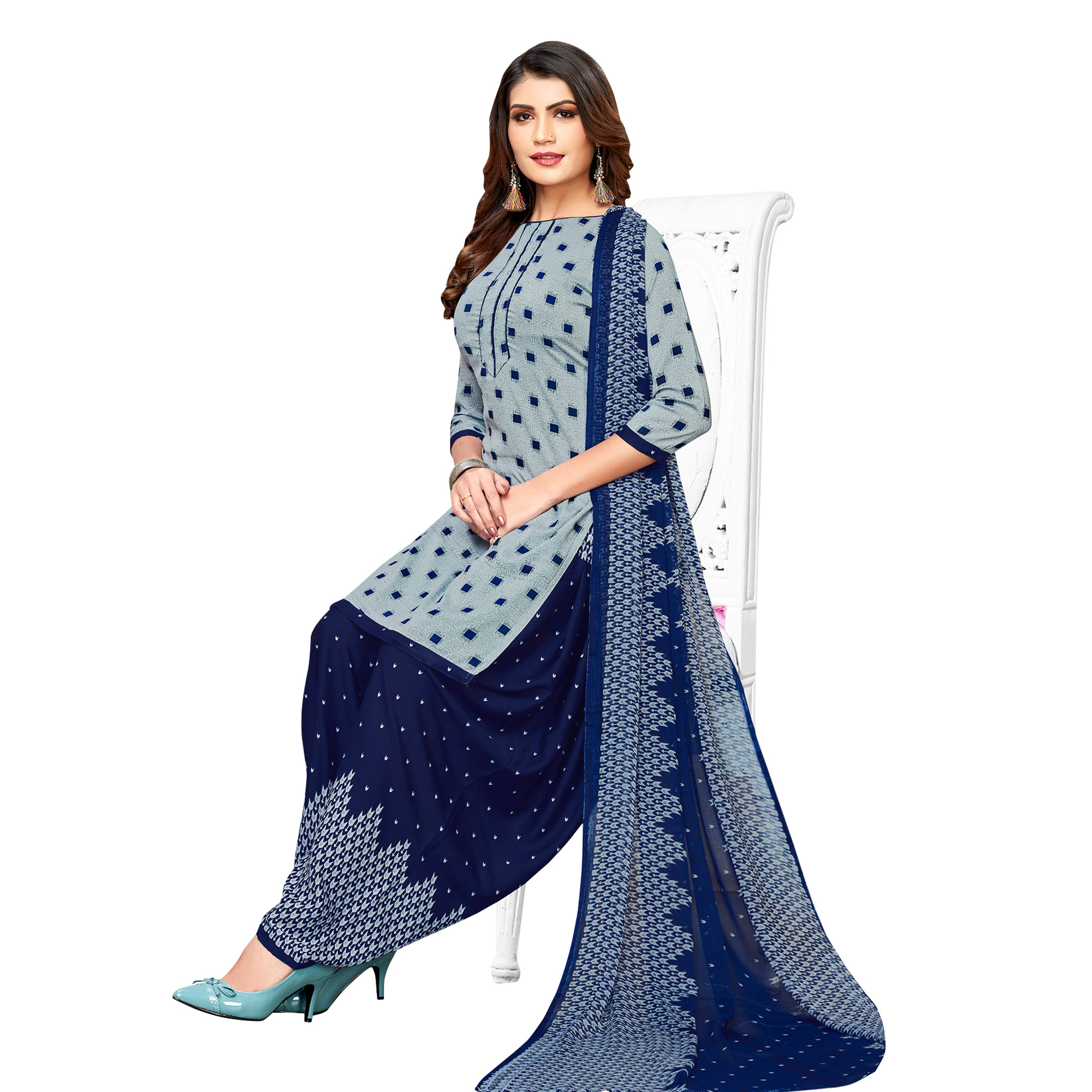 Desirable Yellow-Grey Colored Casual Printed Crepe Patiala Suit - Pack of 2