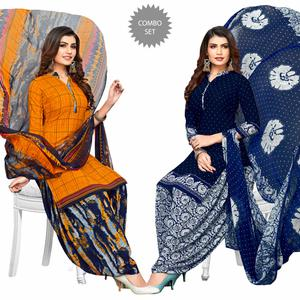 Exotic Yellow-Navy Blue Colored Casual Printed Crepe Patiala Suit - Pack of 2