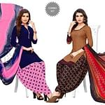 Trendy Blue-Brown Colored Casual Printed Crepe Patiala Suit - Pack of 2