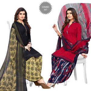Elegant Blue-Red Colored Casual Printed Crepe Patiala Suit - Pack of 2