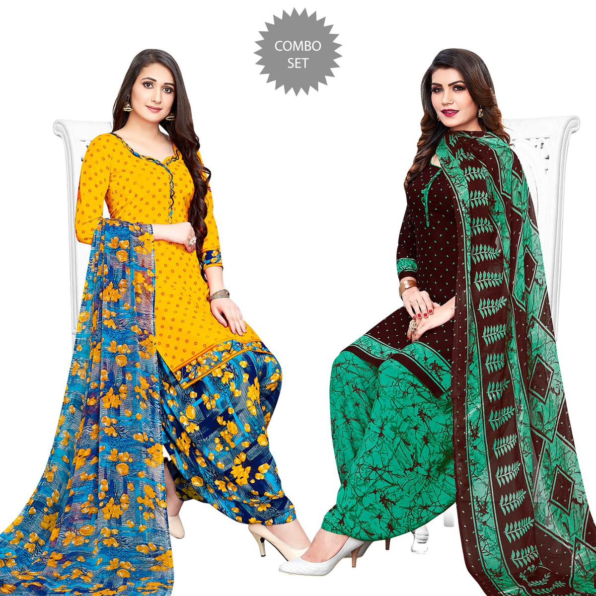 Radiant Yellow-Dark Brown Colored Casual Printed Crepe Patiala Suit - Pack of 2