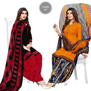 Pleasant Black-Yellow Colored Casual Printed Crepe Patiala Suit - Pack of 2