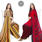 Glowing Beige-Red Colored Casual Printed Crepe Patiala Suit - Pack of 2