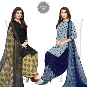 Exceptional Blue-Grey Colored Casual Printed Crepe Patiala Suit - Pack of 2