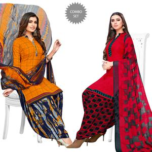 Gleaming Yellow-Red Colored Casual Printed Crepe Patiala Suit - Pack of 2