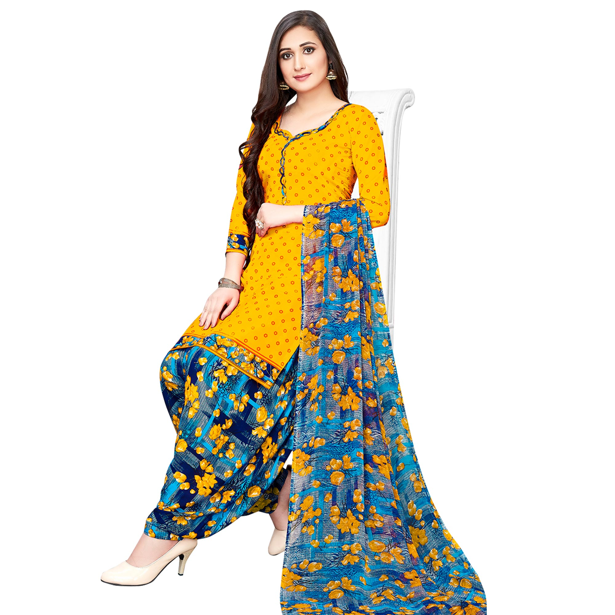 Unique Yellow-Brown Colored Casual Printed Crepe Patiala Suit - Pack of 2