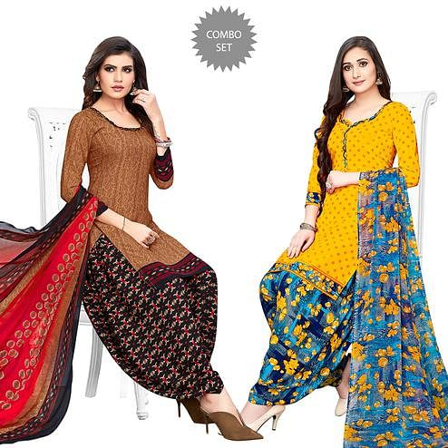 Mesmeric Brown-Yellow Colored Casual Printed Crepe Patiala Suit - Pack of 2