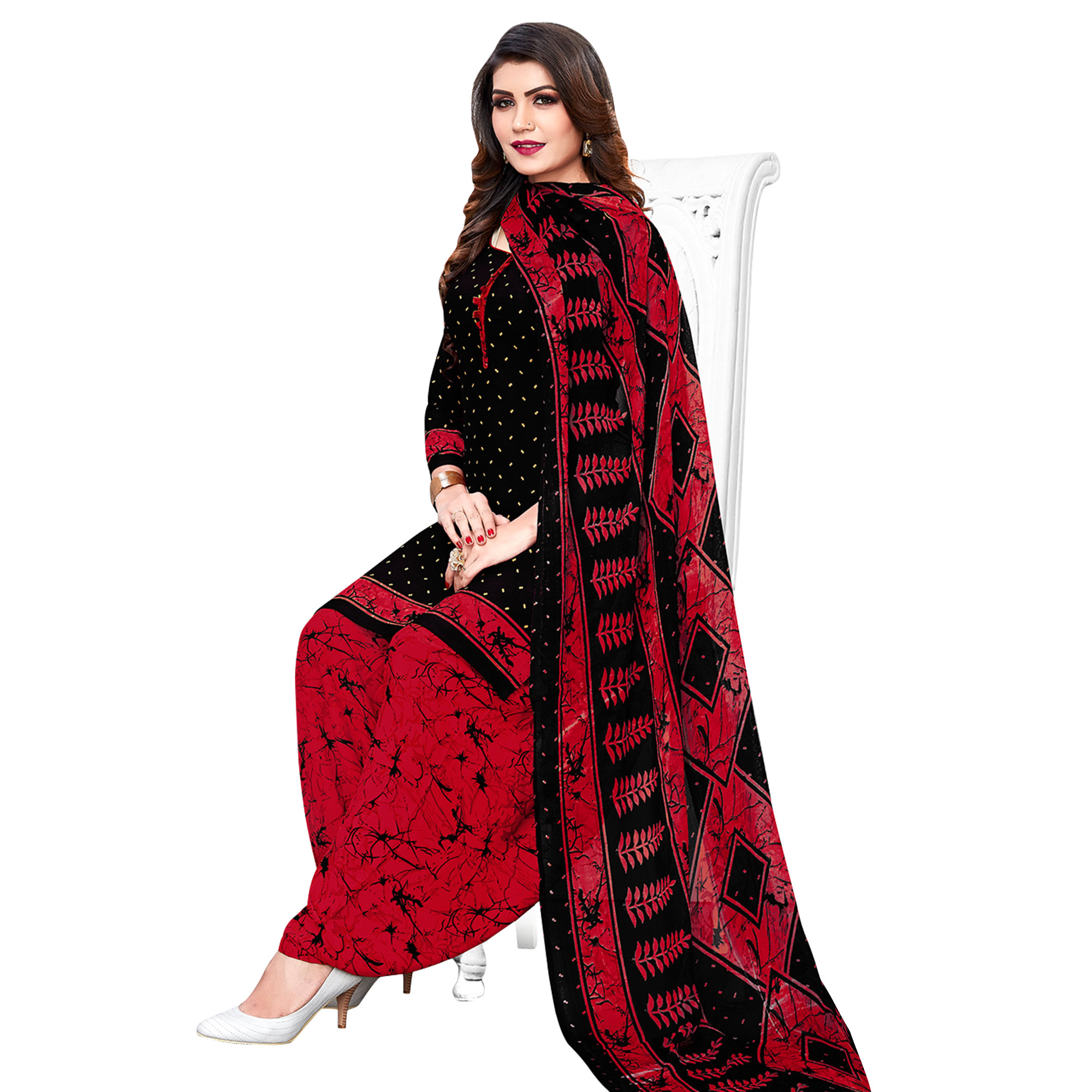 Adorning Casual Printed Crepe Patiala Suit - Pack of 3
