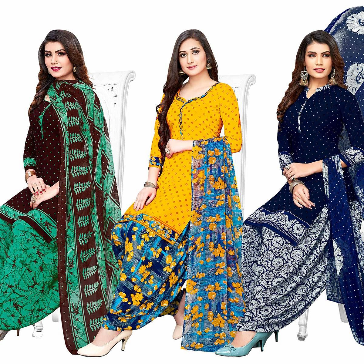 Exclusive Casual Printed Crepe Patiala Suit - Pack of 3