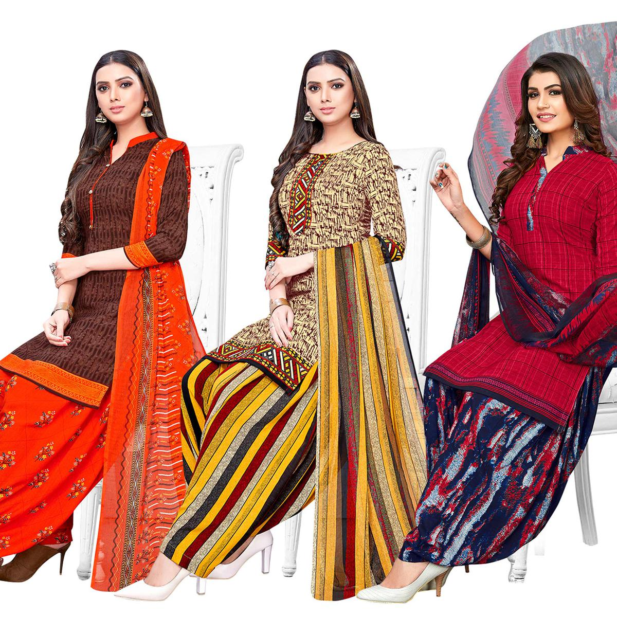 Attractive Casual Printed Crepe Patiala Suit - Pack of 3