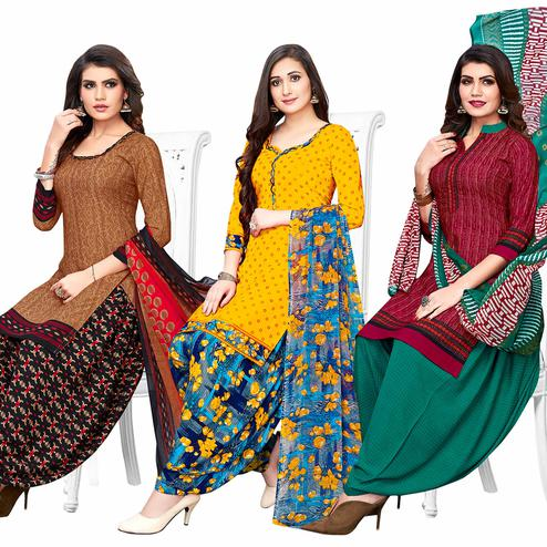 Beautiful Casual Printed Crepe Patiala Suit - Pack of 3