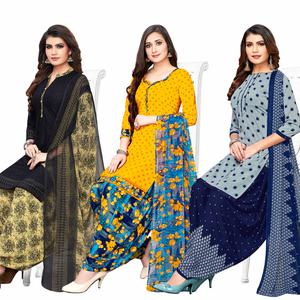 Blooming Casual Printed Crepe Patiala Suit - Pack of 3