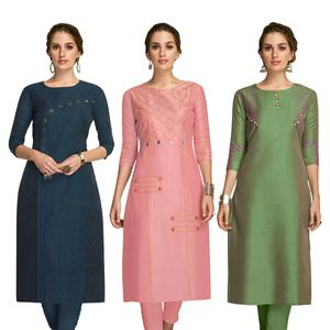 Eye-catching Partywear Embroidered Viscose Kurti - Pack of 3