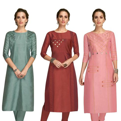 Blissful Partywear Embroidered Viscose Kurti - Pack of 3