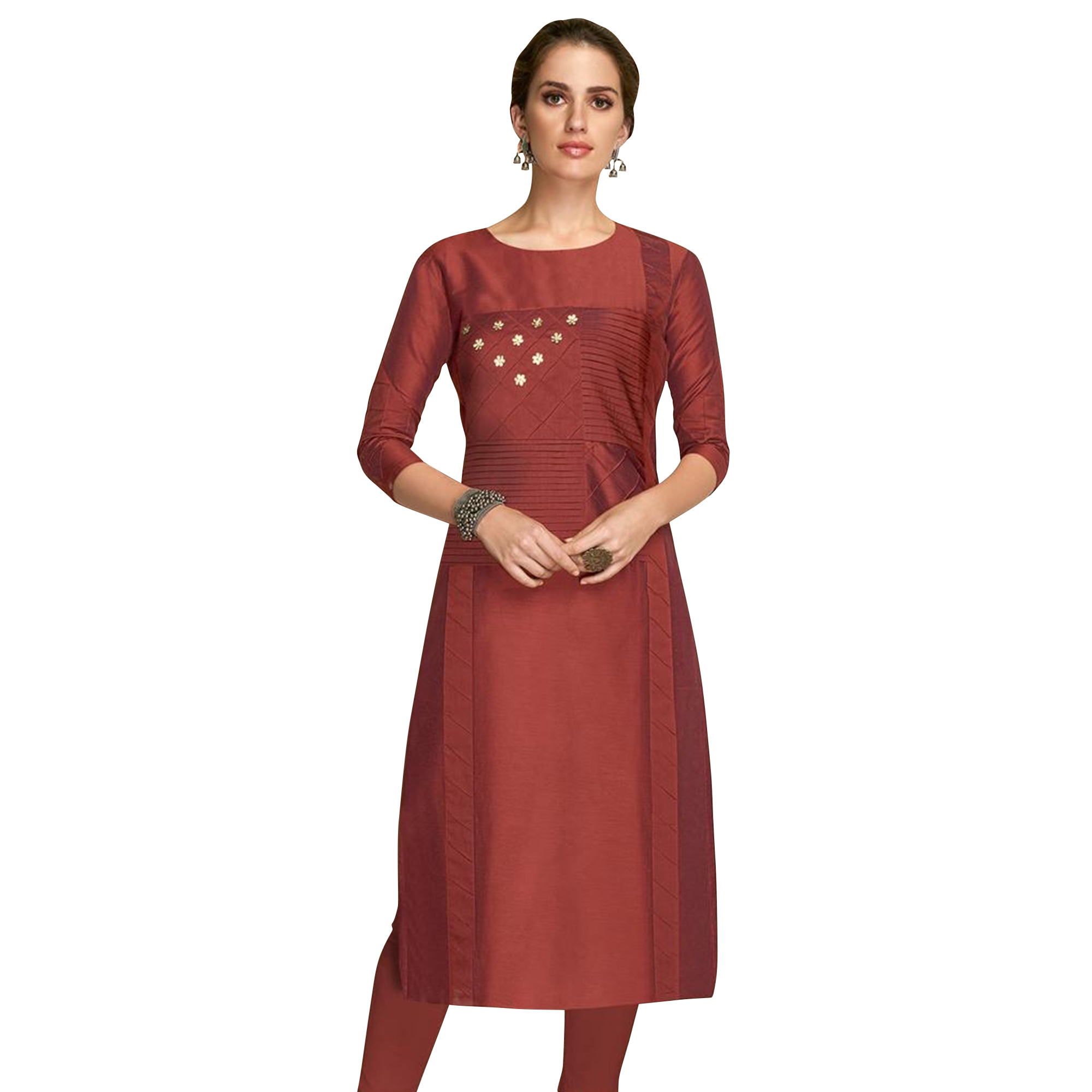 Ideal Partywear Embroidered Viscose Kurti - Pack of 2