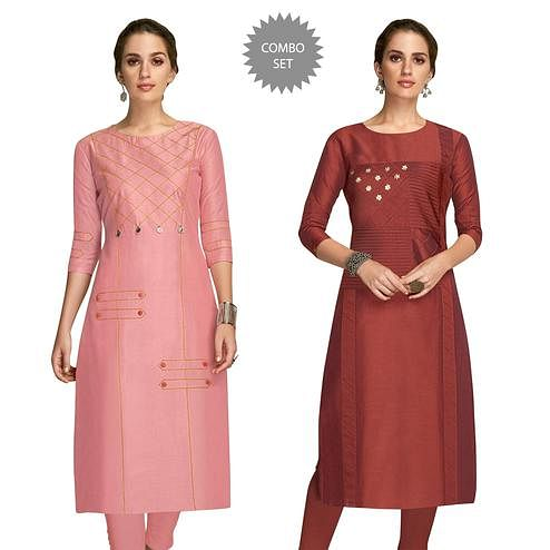 Imposing Partywear Embroidered Viscose Kurti - Pack of 2