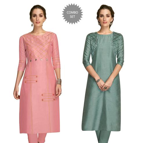 Lovely Partywear Embroidered Viscose Kurti - Pack of 2